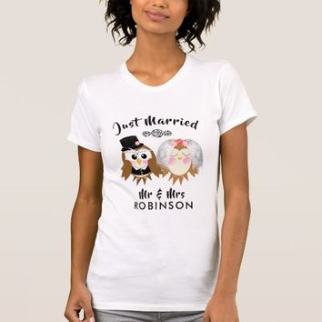 Just Married Cute Owl Bride and Groom Personalized T-Shirt