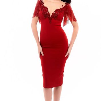 Tarik Ediz - 93338 Fringed Fitted Cocktail Dress
