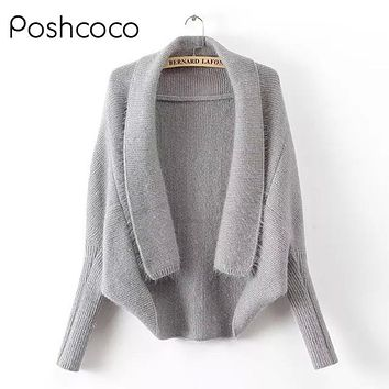 High Quality Batwing Sleeve Turn-Down Collar Women Loose Cardigan Sweater 2017 New Autumn Winter knitted Girl Sweaters Female