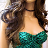 Sexy Top, Mermaid Tube Top, Mermaid Top, Unique Top, Crop Top, Tank Top, Bikini Top, Vacation Clothes, Pool Party Top, Strapless Green Top,