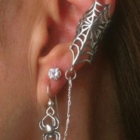 Spider Web Ear Cuff Silver - Web and Chained Spider Ear Cuff - Spider Jewelry - Spider Web Jewelry Spider Earring - Non-Pierced Earring