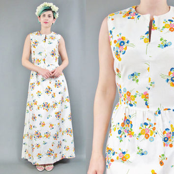 60s 70s Floral Maxi Dress White Cotton Floral Dress Tie Back Long Dress Boho Festival Hippie Dress Colorful Floral Print Hostess Dress (S)