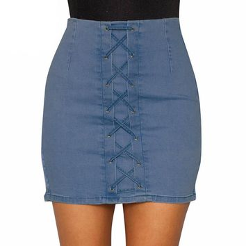 Lace Up Denim Mini Skirt