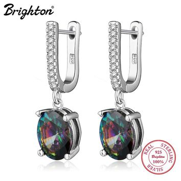 Brighton 2017 New Arrival best friends 925 sterling silver drop earrings colorful zirconia U shape earrings for women