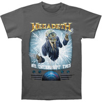 Megadeth Men's  We Interrupt This T-shirt Charcoal Rockabilia