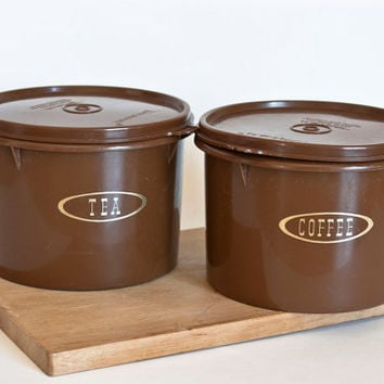 Chocolate Brown 1970s Tupperware Kitchen Canisters, Tea and Coffee Stacking Storage Containers, Labeled