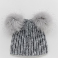 Miss Selfridge faux fur pom pom beanie in grey at asos.com