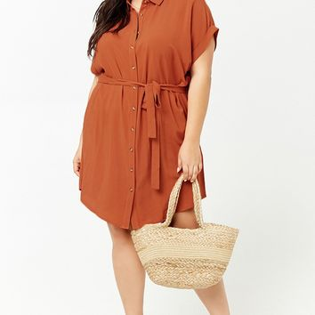 Plus Size Belted Shirt Dress