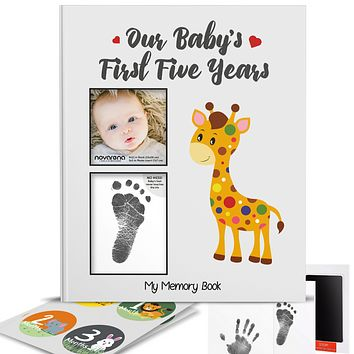Novarena First 5 Years Baby Memory Book with 48 Pack Monthly Milestones Stickers & Clean-Touch Baby Safe Ink Pad Make Baby's Hand & Footprint (Giraffe and Jungle Theme Unisex - Cover Picture Frame)