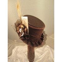 STEAMPUNK TOP HATS, Steampunk Shop,  Steampunk Emporium, Brown, Clock Parts, Feathers