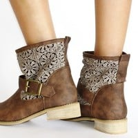 Twisted Women's AMIRA Crochet Inset Faux Leather Buckled Strap Engineer Boot