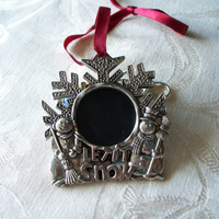 Vintage Silver Plate Christmas Photo Frame Ornament by Gorham