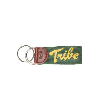 William & Mary Tribe Needlepoint Key Fob in Hunter by Smathers & Branson