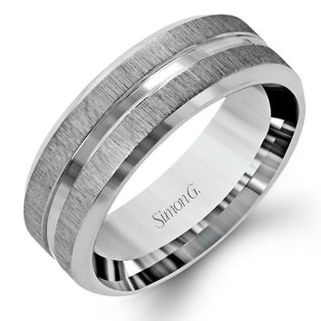 Simon G 14K White Gold Men's Satin Wedding Band With Center Polished Band