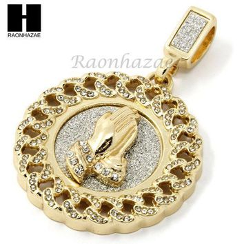 Mens Hip Hop Iced Out Gold Praying Hands Round Pendant 24' Cuban Necklace N21