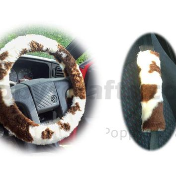Brown and White Cow print fuzzy Car Steering wheel cover & matching faux fur seatbelt pad set