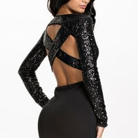 Black Sequined Full Sleeve Cross Back Mini Dress