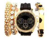 RHINESTONE RIM WATCH & BRACELETS, 3-PIECE SET