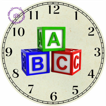 """ABC Blocks Art - -DIY Digital Collage - 12.5"""" DIA for 12"""" Clock Face Art - Crafts Projects"""