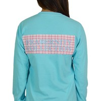 Pink Check Seersucker Back Patch with Aqua Logo - Fraternity Collection