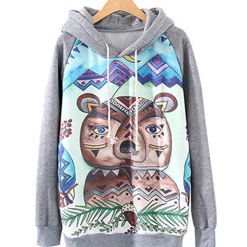 Grey Teddy Bear Print Hoodie Jacket