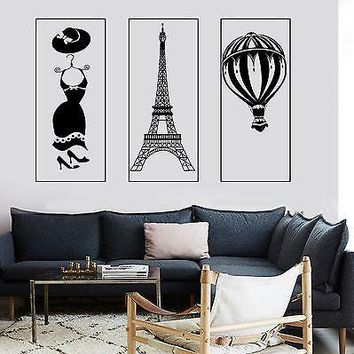 Wall Mural Paris Eiffel Tower Fashion Dress Romantic Hot Air Balloon  Unique Gift z2857