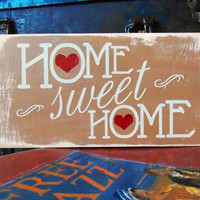 Home Sweet Home Typography Wall Art Wood Sign by 13pumpkins