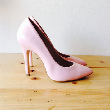 Barbie Shoes/Pink Patent Pumps/Pink Shoes/Vamp Shoes/Rocker/Pink Pumps/Pin Up Shoes/Patent Heels/Pink Shoes/Wedding/Boho Shoes/EU 38