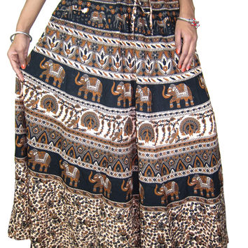 Indian Long Skirt Tribal Animals Print Ivory Cotton Peasant Maxi Skirts, Holiday Gift