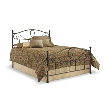 Queen size Metal Bed Frame with Headboard and Footboard in French Roast Finish