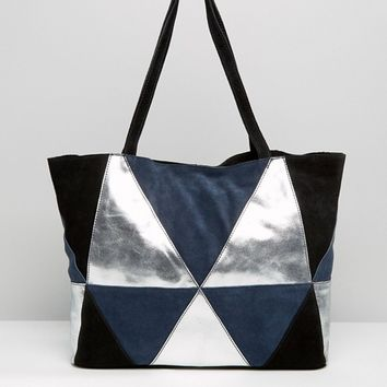 ASOS Metallic Suede Patchwork Shopper Bag at asos.com