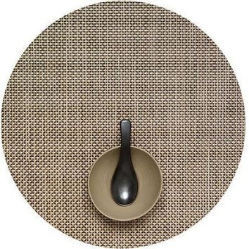 CHILEWICH Basketweave Round  Placemat S/4 | Latte