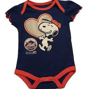 New York Mets Infant Girls Creeper Snoopy Peanuts Baby Romper MLB Apparel