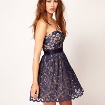 Elise Ryan Sweetheart Bandeau Lace Skater Dress at asos.com