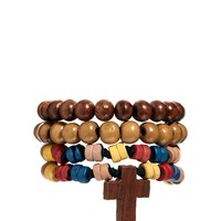 ASOS Bracelet Pack With Wooden Cross