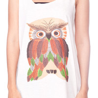 Horned OWL Shirt Owl Bird Cute Animal Shirts Women Tank Top White Shirt Tunic Top Vest Sleeveless Women T-Shirt Size S M
