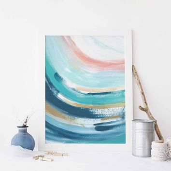 Abstract Wave Swell Trendy Ocean Painting Wall Art Print
