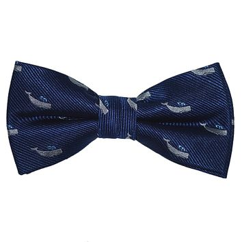 Sperm Whale Bow Tie - Navy, Woven Silk, Pre-Tied for Kids