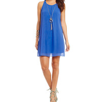I.N. San Francisco Solid Necklace Shift Dress | Dillards