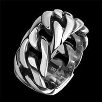 Stainless Steel with Rope Punk Male Ring Big Size Retro Vintage Biker Large Antique Men's Rings For men Rock mens Jewelry
