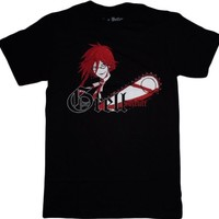 Black Butler: Grell with Chainsaw Black T-Shirt