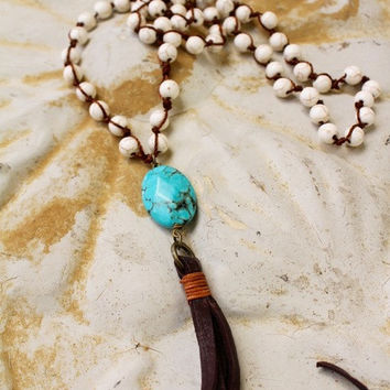 Bohemian Bone Turquoise Necklace