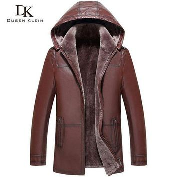 ONETOW wool leather hooded shearling jacket men dusen klein brand genuine sheepskin wool liner men luxury coats 71a1803