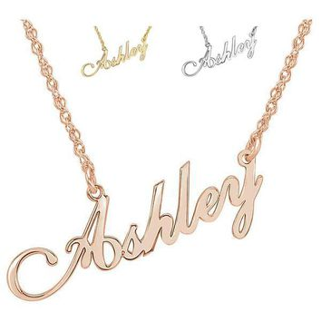 Personalized Serif Font Nameplate Name Necklace