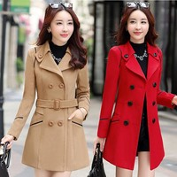 Women's Autumn New Vintage Elegant Embroidery Wool Coat Bi-layered Front-opening Cinch Waist Woolen Coat