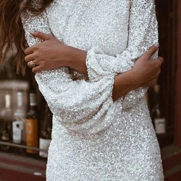 Everyone's Dream Sequin Long Lantern Sleeve Crew Neck Bodycon Mini Dress - 2 Colors Available