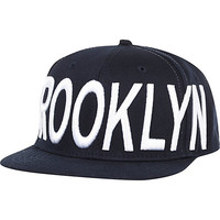 River Island MensNavy Brooklyn flatpeak hat