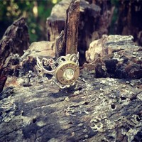 Filigree Pistol Bullet Shell Ring - Silver