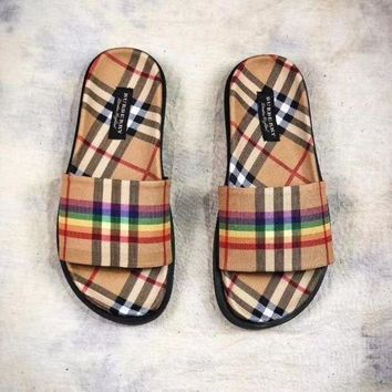 ICIKN6 Burberry Rainbow Vintage Check Slides Vintage Flats Always Fashion Slippers 'Retro Yellow Rainbow Plaid'