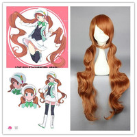 90cm long wavy brown heat resistant cosplay wigs sexy women Japanese anime Yuri Kuma Arashi-Lulu Yurigasaki brown cosplay wigs,Colorful Candy Colored synthetic Hair Extension Hair piece 1pcs WIG-576B